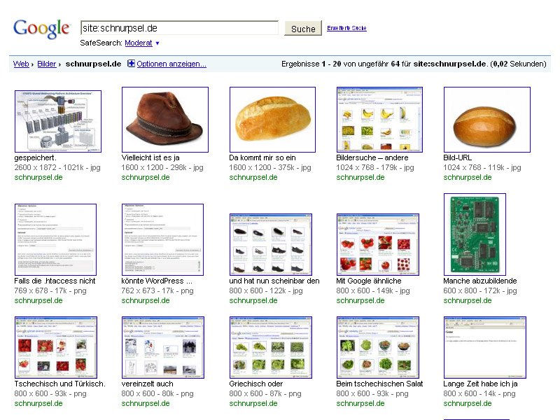 Google Bildersuche – Site:schnurpsel.de