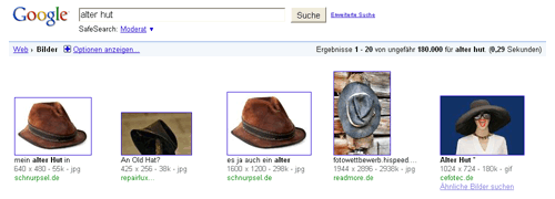 Google-Bildersuche - Alter Hut