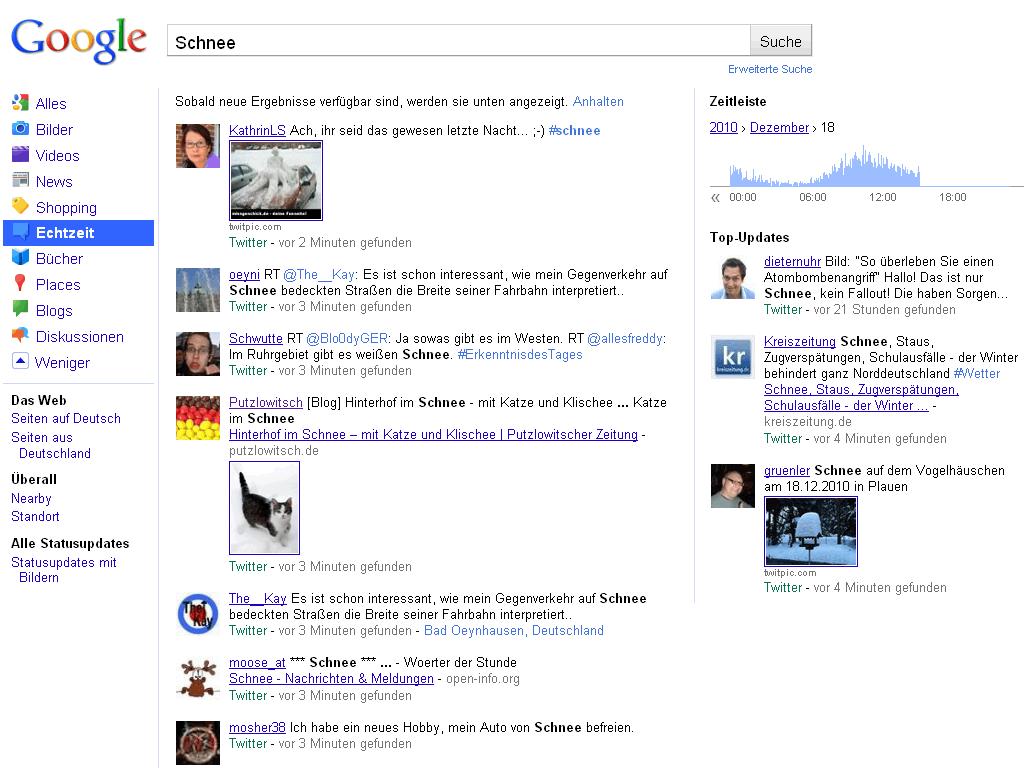 Google-Echtzeit mit Top-Updates
