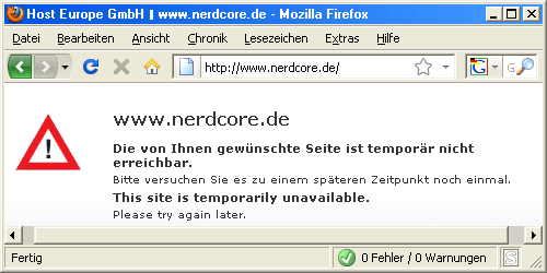 Nerdcore - Fehler 503 - temporarily unavailable