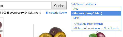 Google Safesearch - Optionen