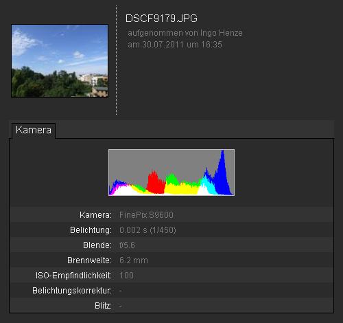 Google+ Fotos mit Details (EXIF-Daten und Farbhistogramm)