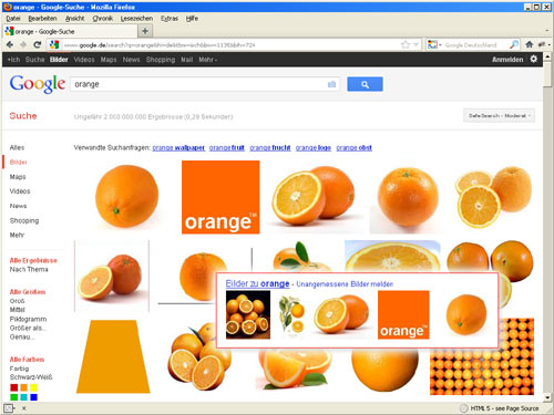 Google-Bildersuche: Orange