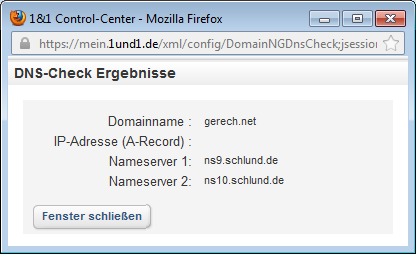1& DNS-Check: leerer A-Record