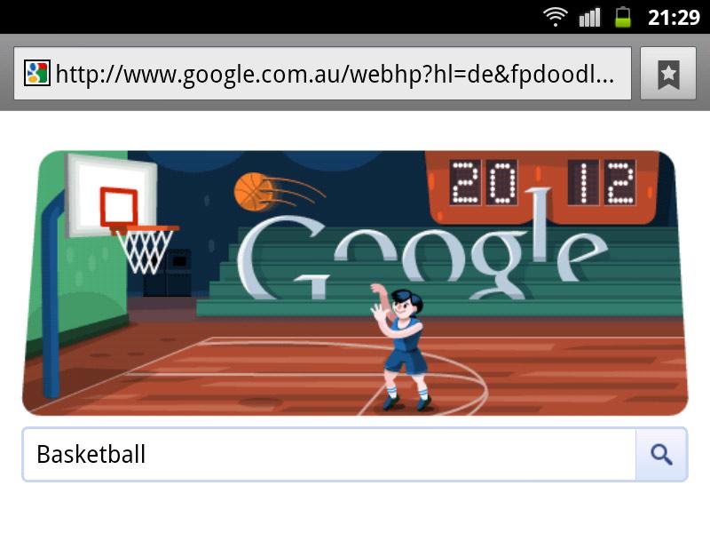 google-doodle london 2012 basketball olympia