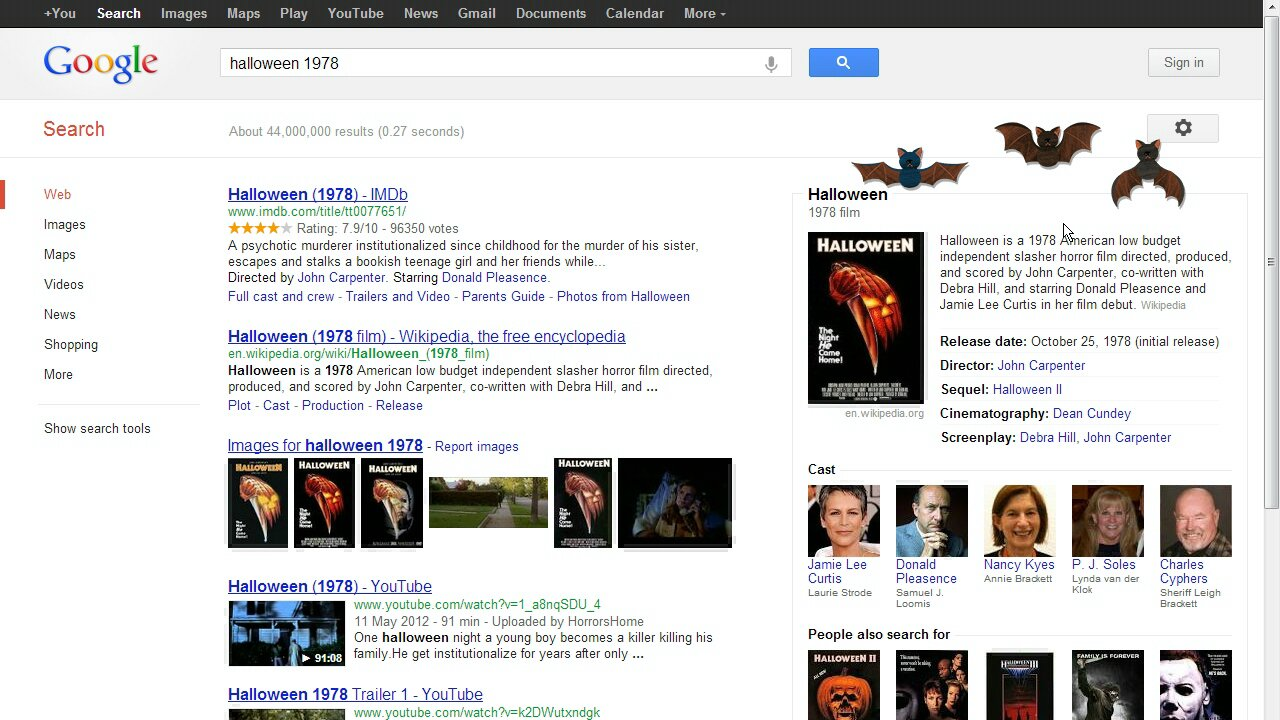 Google Halloween Easter Egg (Bats)