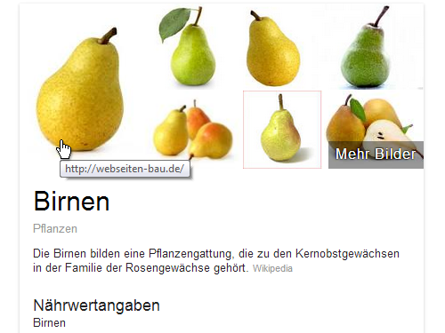 Google-Knowledge-Graph Birne (Bilderdieb)