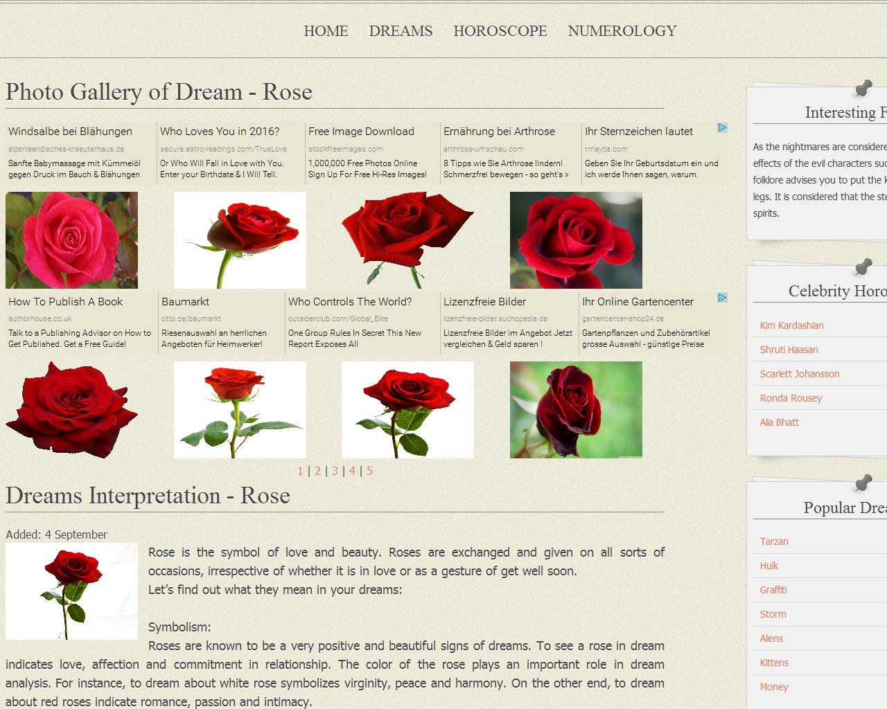 Website weknowyourdreamz.com - Bilder und Werbung
