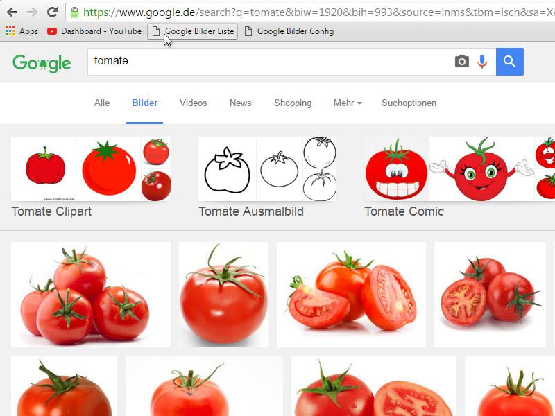 Bookmarklet – Google Bilder-Liste Anwendung