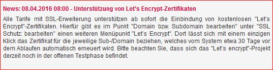 All-Inkl mit Let's Encrypt Verschlüsselung
