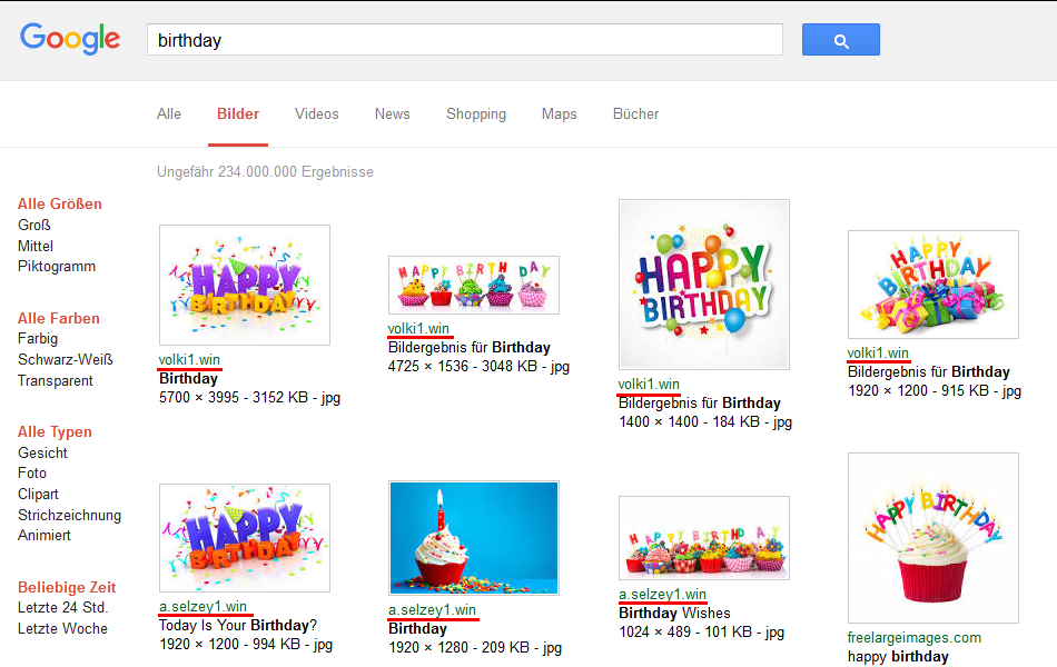 Google-Bildersuche: birthday (04.04.2016)