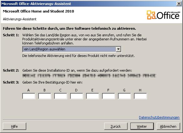 MS-Office 2010 - telefonische Aktivierung wird nicht mehr unterstützt