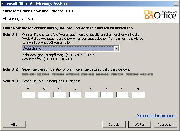MS-Office 2010 - telefonische Aktivierung funktioniert