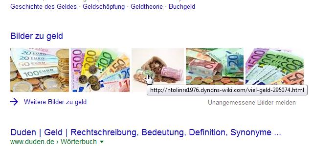 Google-Suche Bilder-Box: Geld
