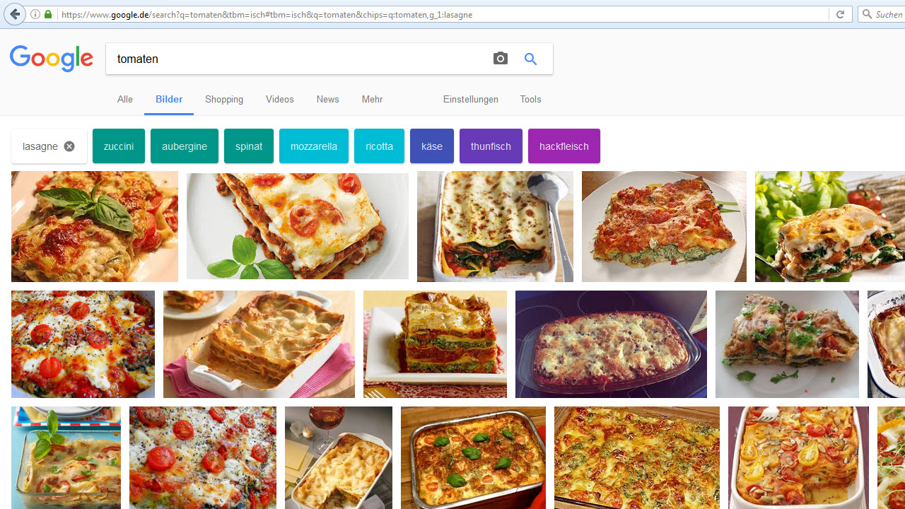 Google-Bildersuche: bunte Filter-Button Tomaten Lasagne