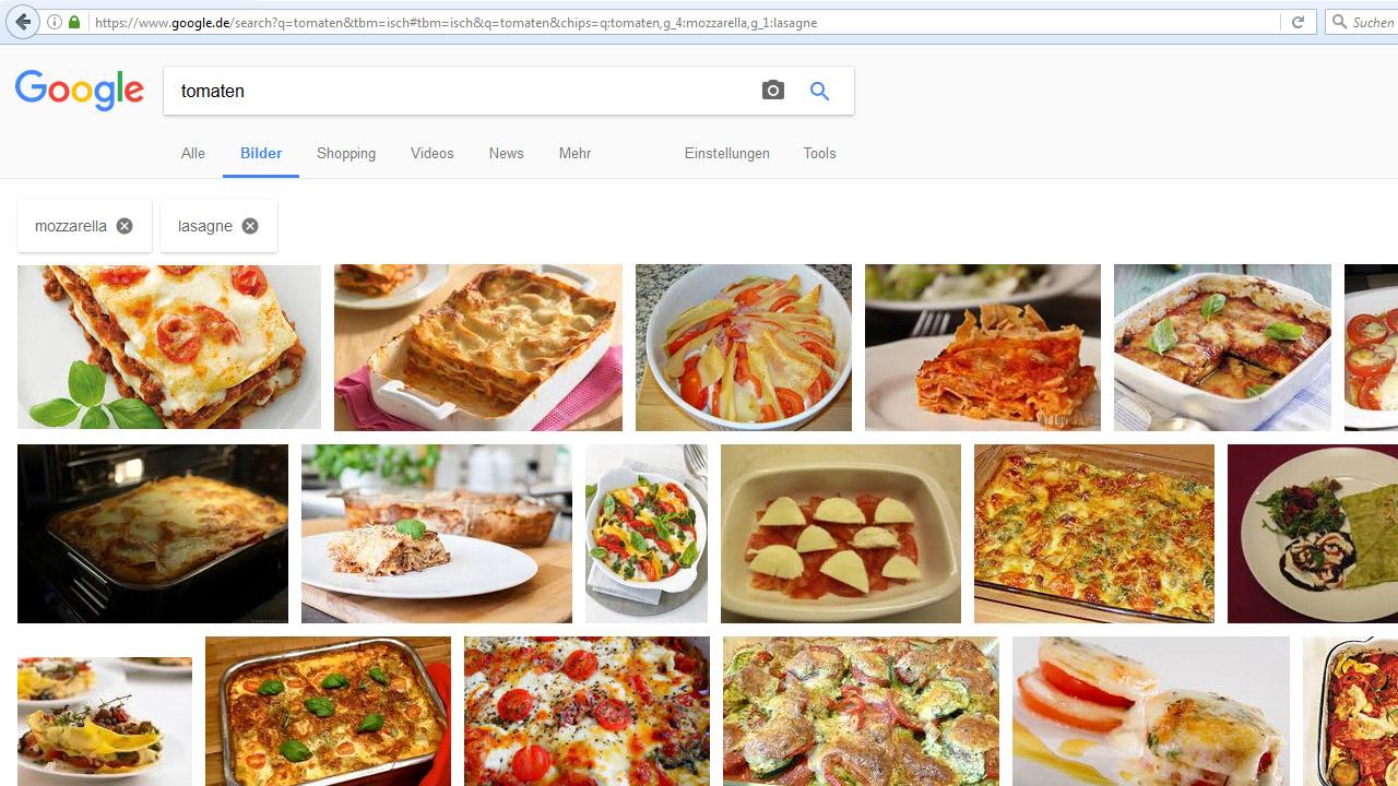 Google-Bildersuche: bunte Filter-Button Tomaten Mozzarella Lasagne