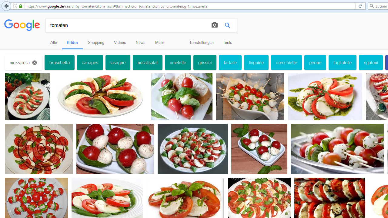 Google-Bildersuche: bunte Filter-Button Tomaten Mozzarella
