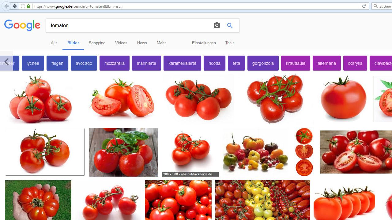 Google-Bildersuche: bunte Filter-Buttons für Tomaten
