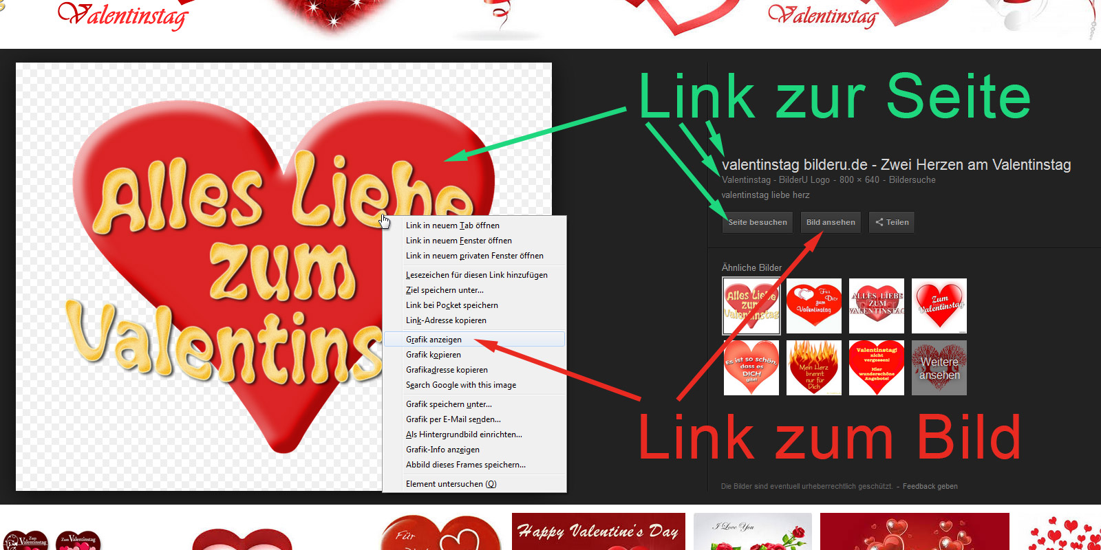 Google-Bildersuche: Links