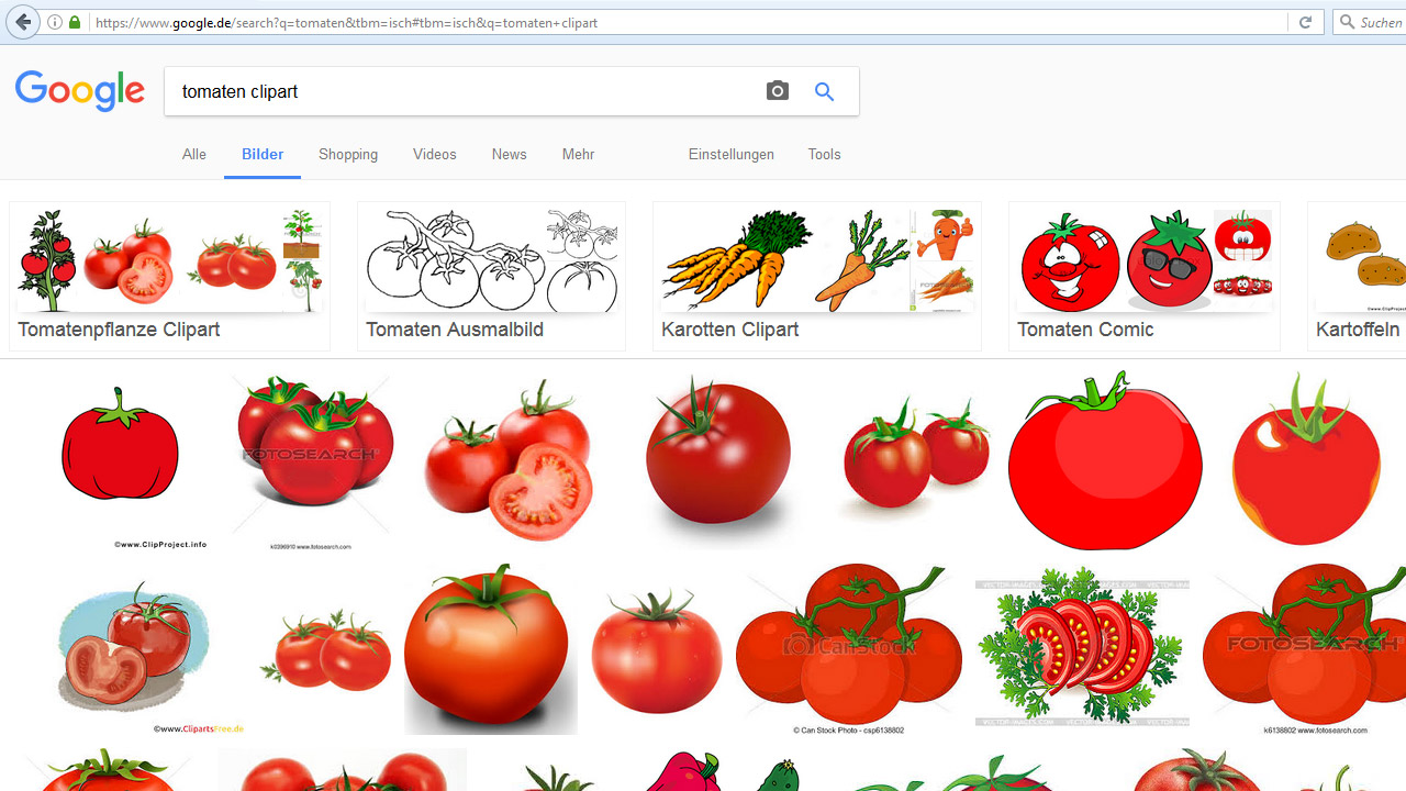 Google-Bildersuche: Verwandte Suchanfragen für Tomaten Clipart
