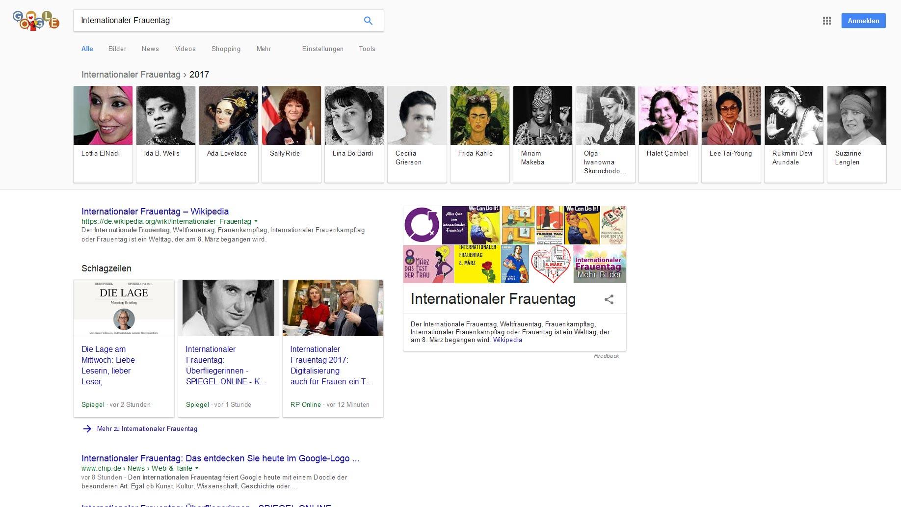 Internationaler Frauentag - Google-Suche