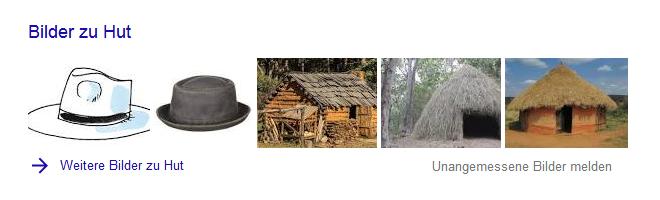 Google-Suche: Hut (Bilder-Box)