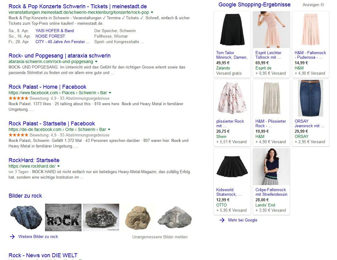 Google-Suche: Rock