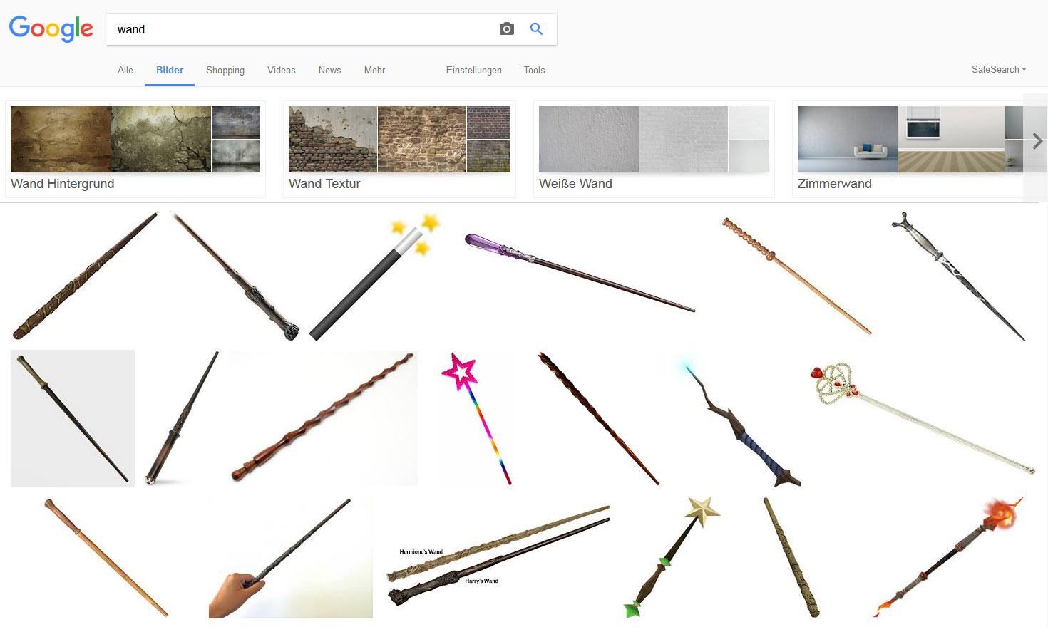 Google Bildersuche: Wand (zeigt Zauberstab)