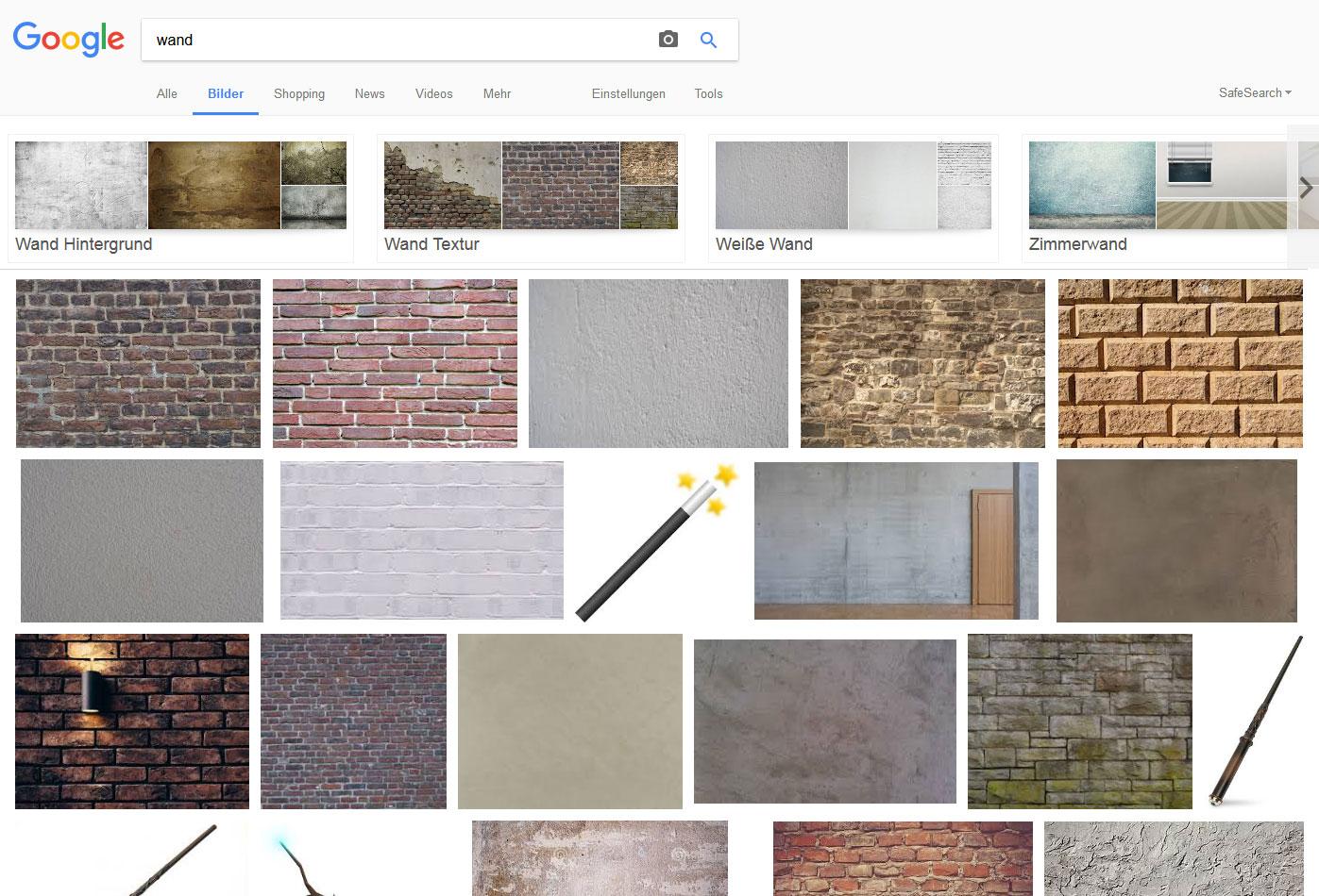 Google-Bildersuche: Wand