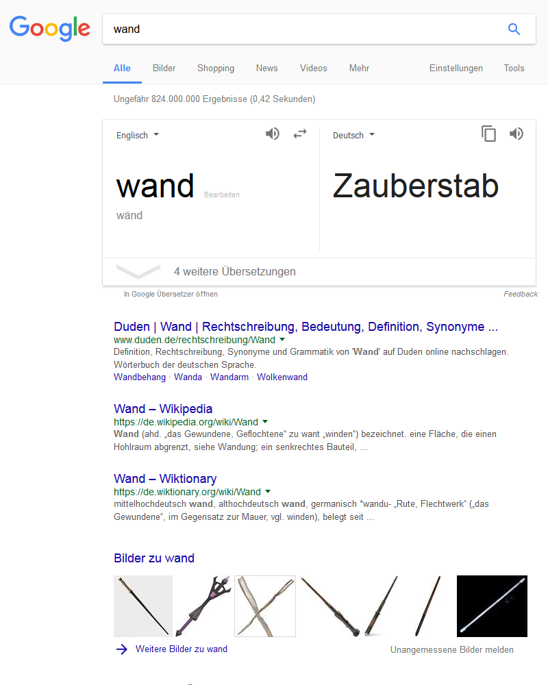 Google-Suche: Wand