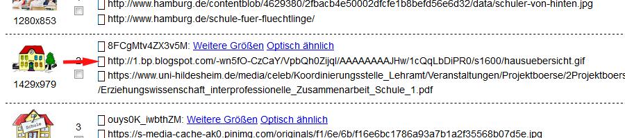 Google-Bildersuche: Text-URL im PDF
