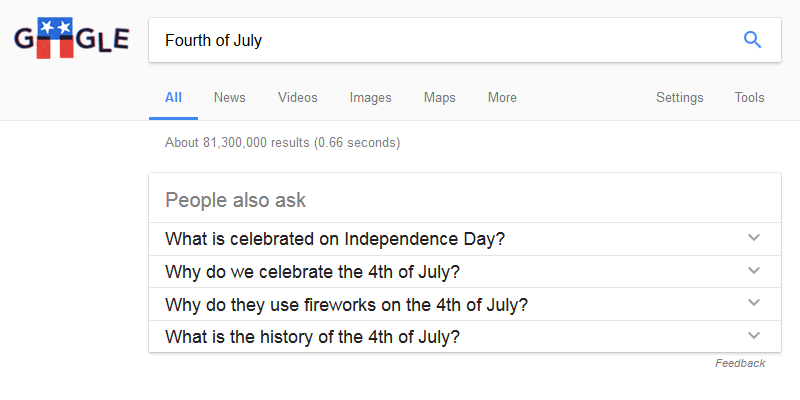 "Google ""People also ask"": Fourth of july"