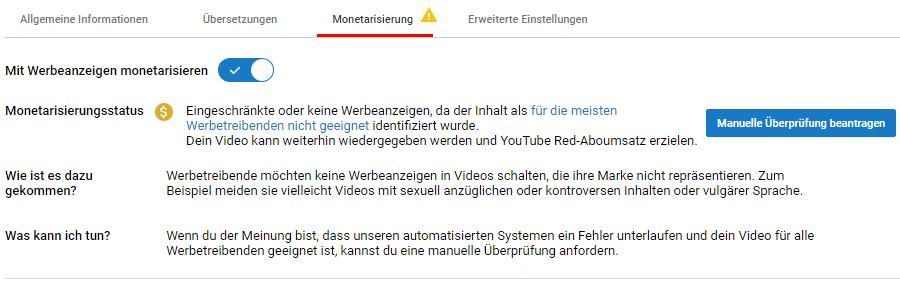 YouTube – Monetarisierungsstatus gelb
