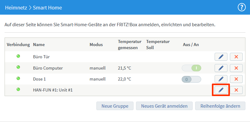 Fritz!Box 7490 – Smart Home Geräte-Liste