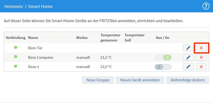 Fritz!Box 7490 – Smart Home Gerät löschen
