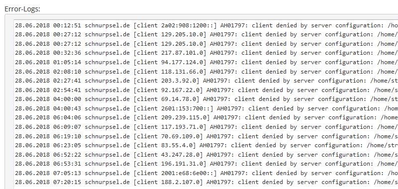 Strato Error-Log: IP-Adresse anonymisiert