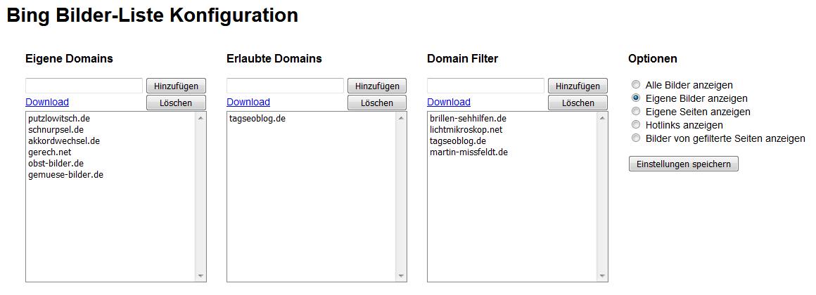 Bookmarklet – Bing Bilder-Liste Konfiguration