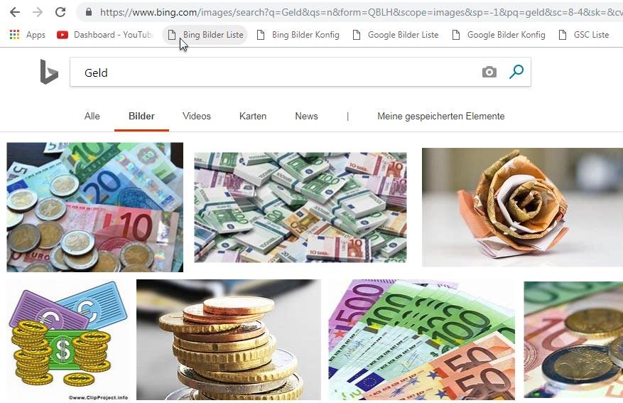 Bookmarklet – Bing Bilder-Liste Anwendung
