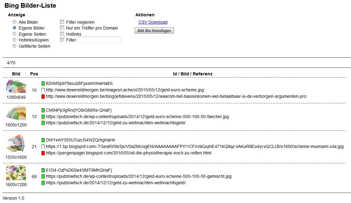 Bookmarklet – Bing Bilder-Liste (1.0)