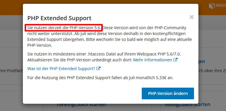 Strato-Webhosting: Veraltete PHP-Version-Hinweis