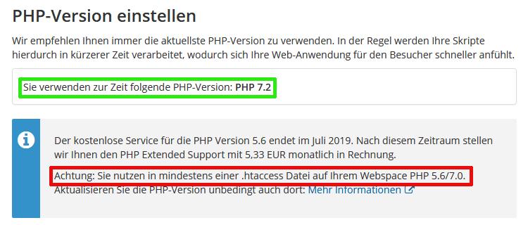 Strato-Webhosting: PHP-Version einstellen