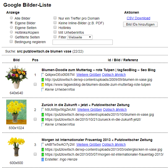 Bookmarklet Google-Bilderliste 2.0