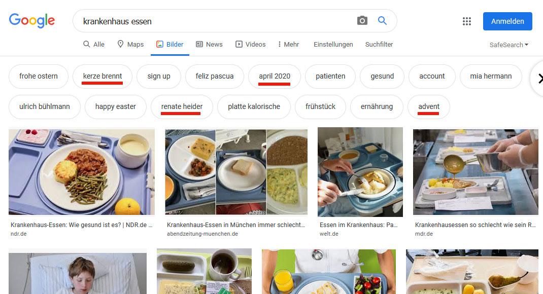 Google-Bildersuche Filter-Buttons: Krankenhaus Essen (Update)