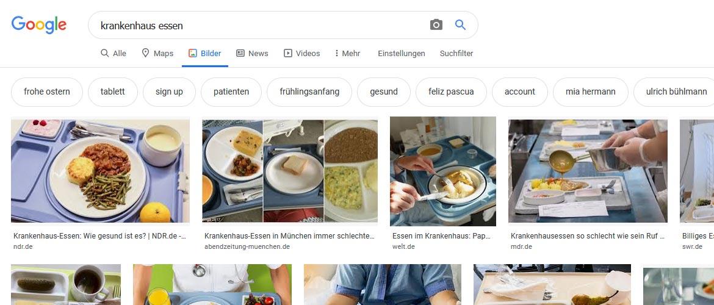 Google-Bildersuche Filter-Buttons: Krankenhaus Essen