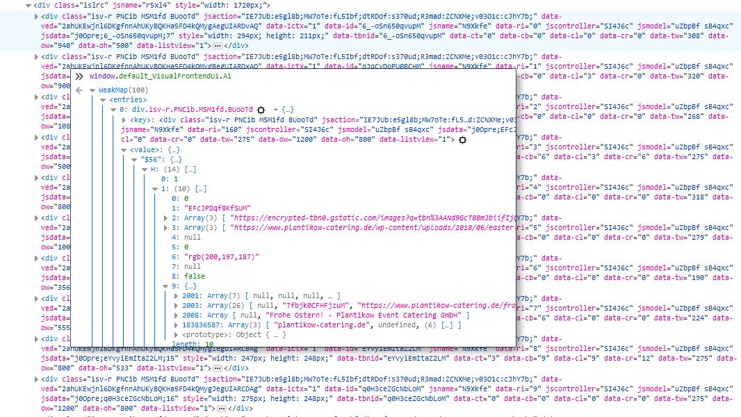 Google-Bildersuche:  html und js-Daten 2020