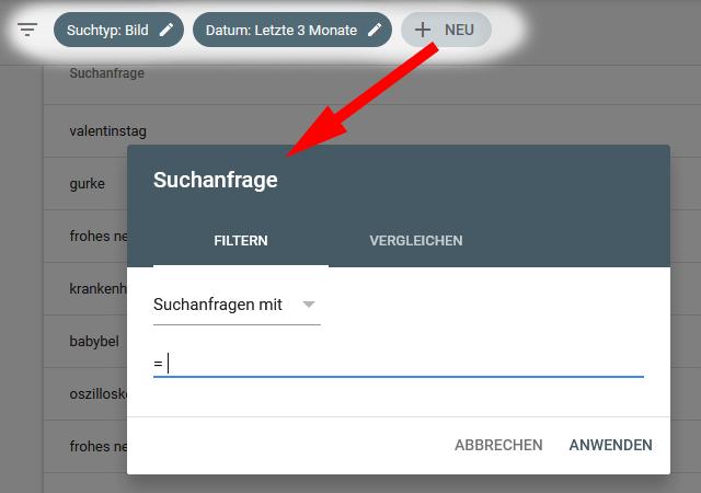 GSC-Leistung: Suchfilter Filterbuttons