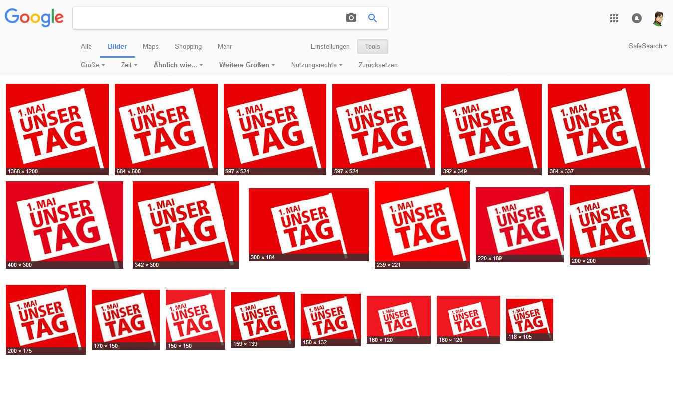 Google Bildersuche mit Bildgrößen