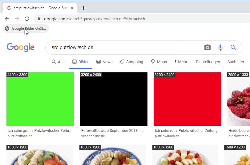 Bookmarklet Google Bilder Größen