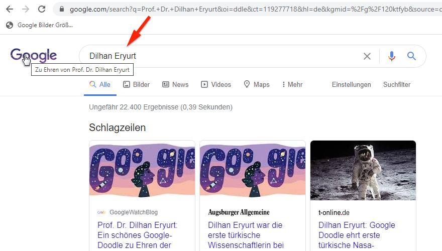 Google-Doodle: veränderte Suchanfrage
