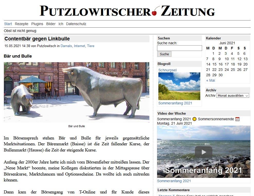 Contentbär in der Putzlowitscher Zeitung